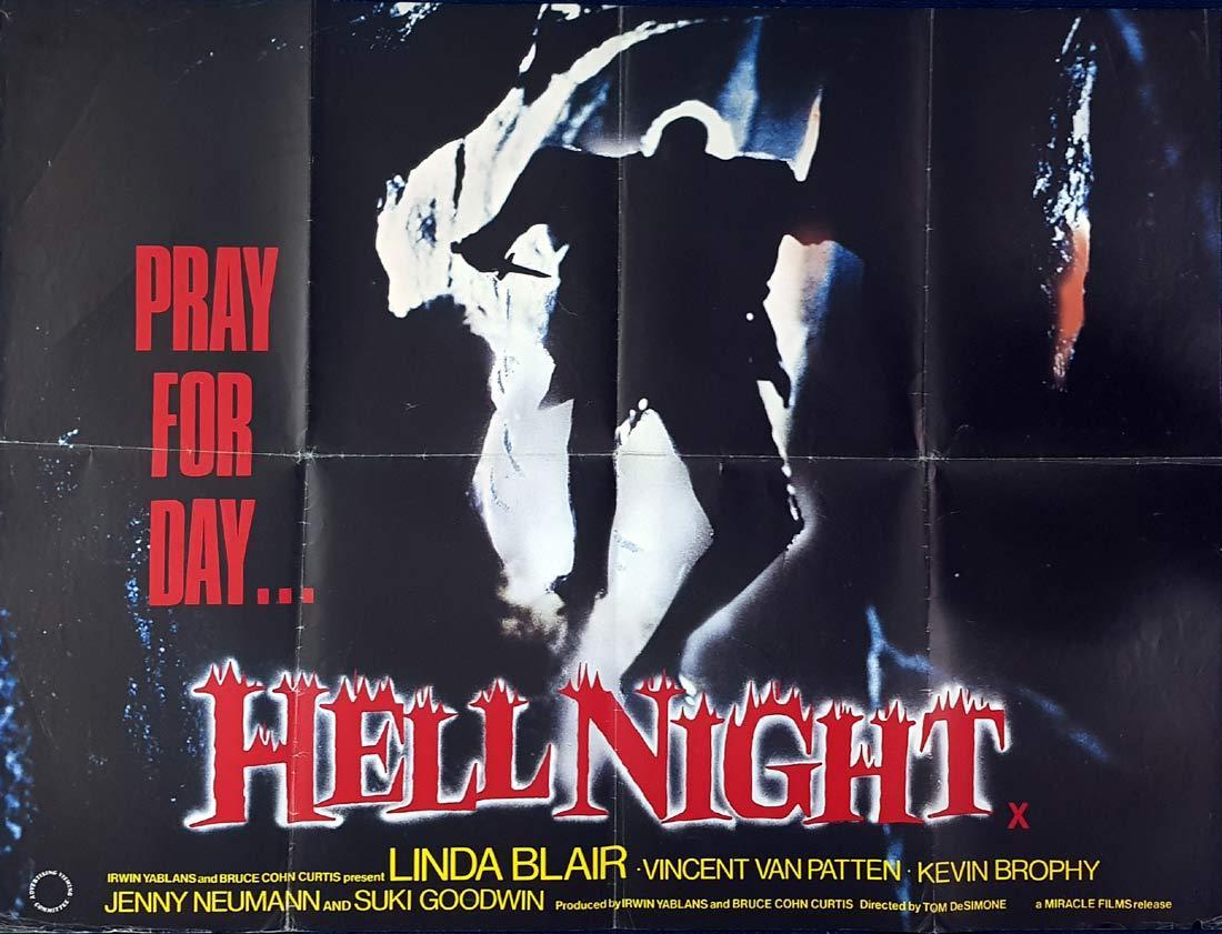 HELL NIGHT British Quad Movie poster Linda Blair Horror Slasher
