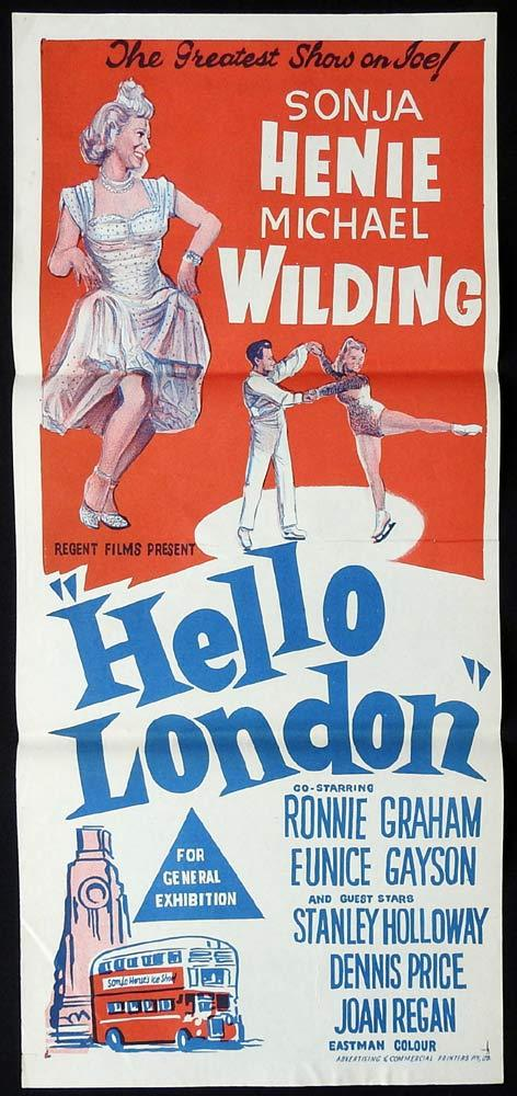 HELLO LONDON Original Daybill Movie Poster Sonja Henie Michael Wilding