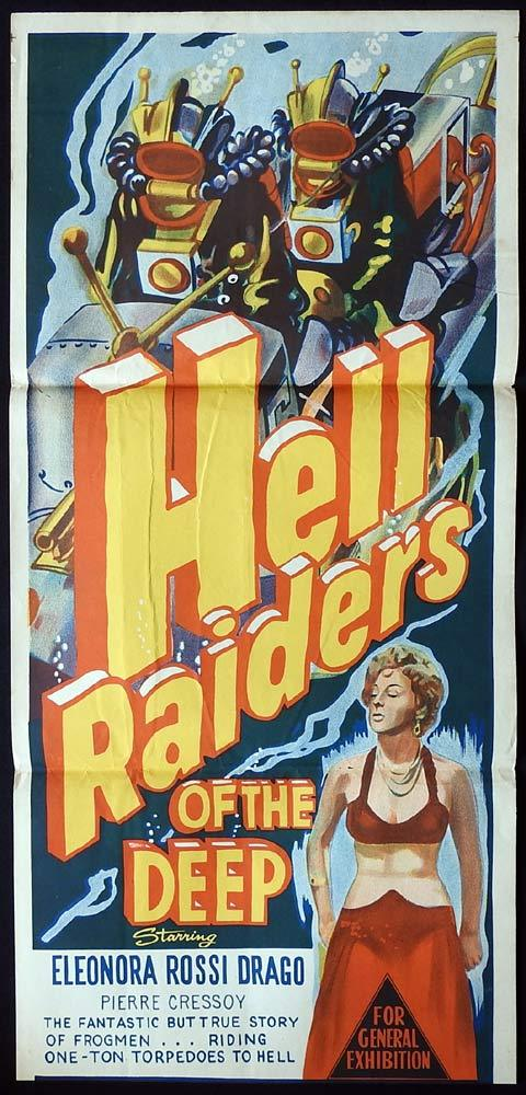 HELL RAIDERS OF THE DEEP Original Daybill Movie poster SKIN DIVING Scuba Frogmen 1956