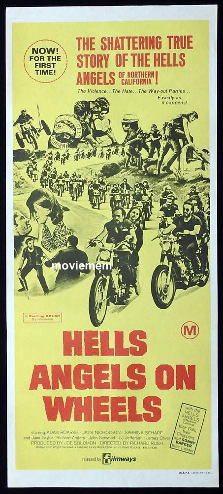 HELL'S ANGELS ON WHEELS Original Daybill Movie Poster 1967 Jack Nicholson BIKER MOTORCYCLE