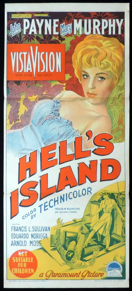 HELL'S ISLAND Original Daybill Movie Poster JOHN PAYNE Mary Murphy Richardson Studio
