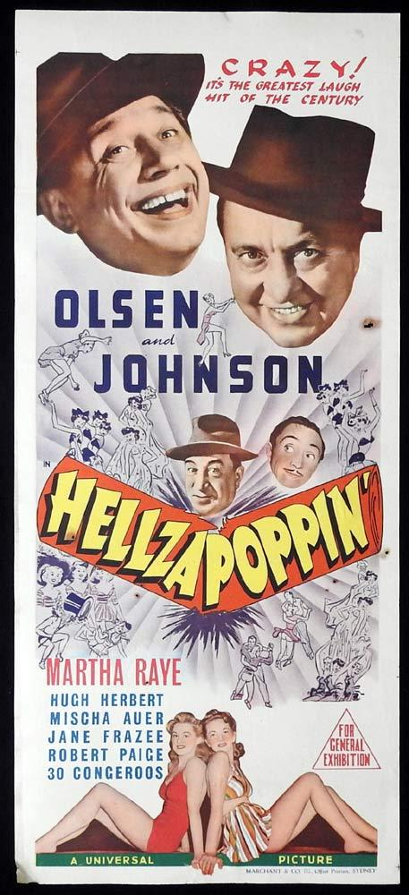 HELLZAPOPPIN Original Daybill Movie poster Olsen and Johnson Martha Raye