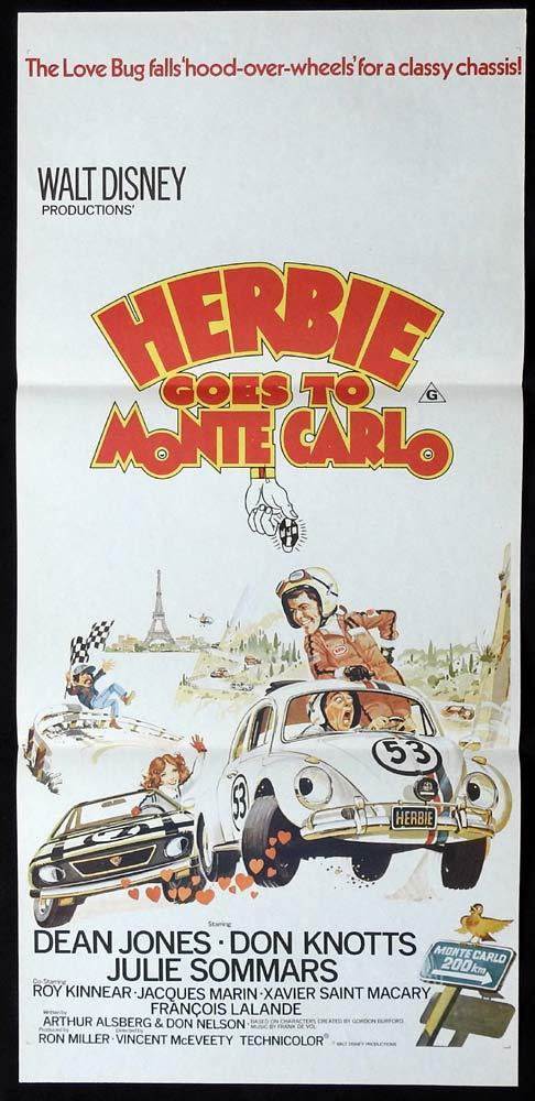 HERBIE GOES TO MONTE CARLO Original Daybill Movie Poster VQ Beetle Volkswagen