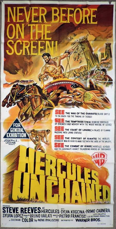 HERCULES UNCHAINED Original 3 Sheet Movie Poster Steve Reeves