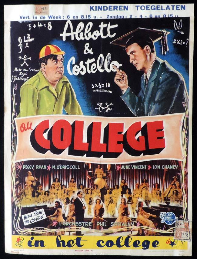HERE COME THE CO-EDS Original Belgian Movie poster Abbott and Costello