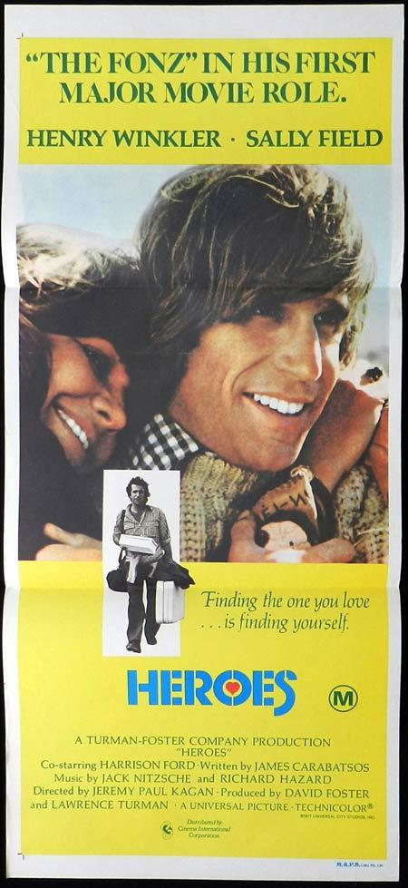 HEROES Original daybill Movie Poster Henry Winkler Sally Field Harrison Ford