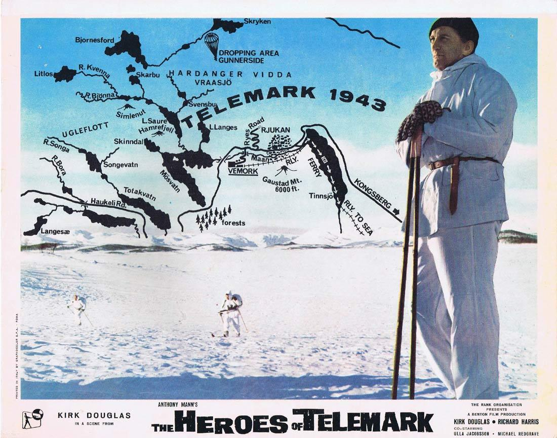 THE HEROES OF TELEMARK Lobby Card Kirk Douglas Richard Harris Ulla Jacobsson