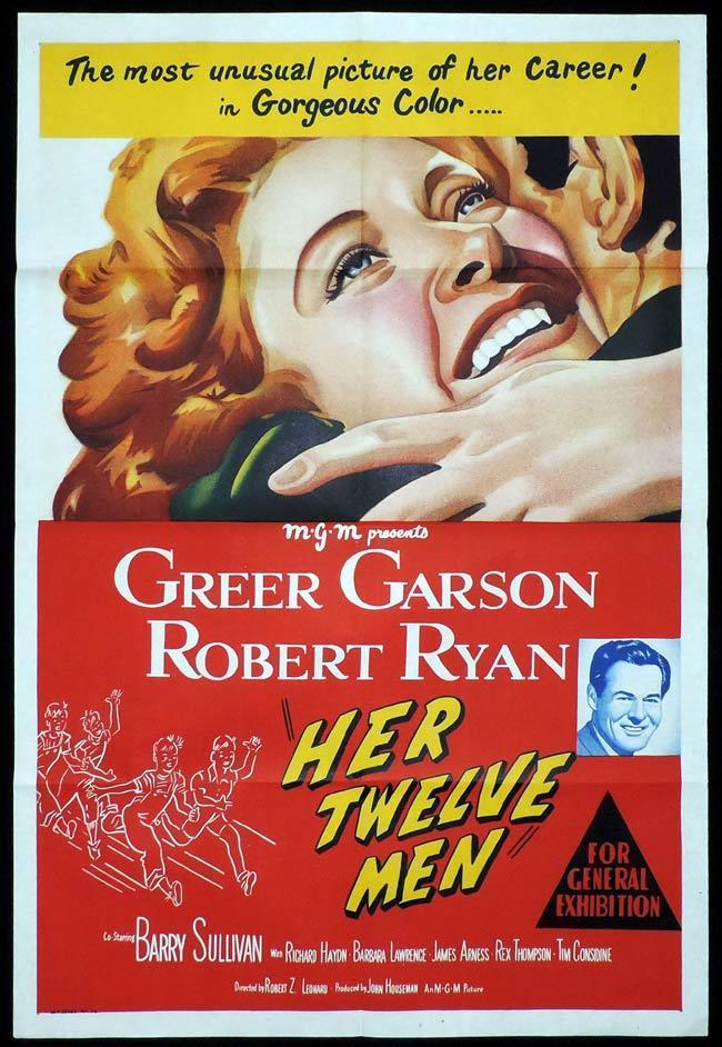 HER TWELVE MEN Original One sheet Movie Poster Greer Garson Robert Ryan