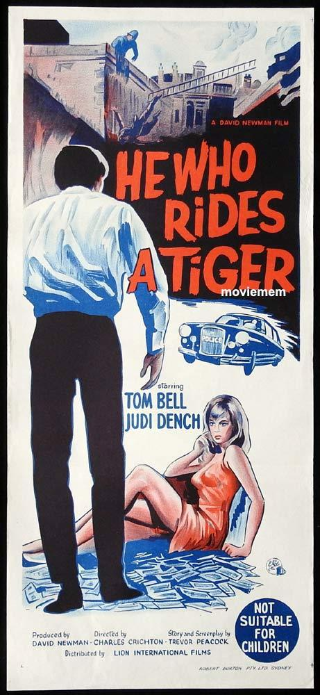 HE WHO RIDES A TIGER Original Daybill Movie Poster Tom Bell Judi Dench Film Noir