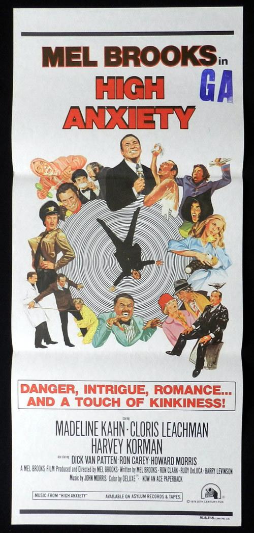 HIGH ANXIETY Original Daybill Movie Poster Mel Brooks Madeline Kahn Ron Carey