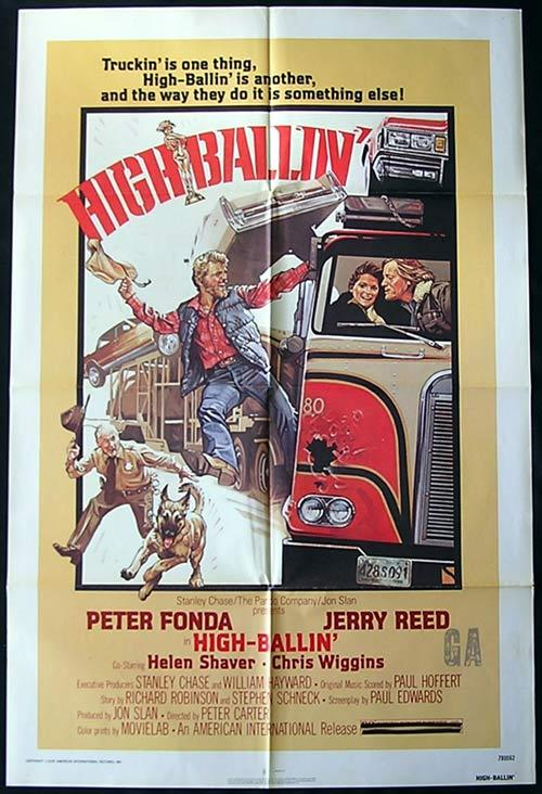 HIGH BALLIN Original One sheet Movie poster PETER FONDA Jerry Reed