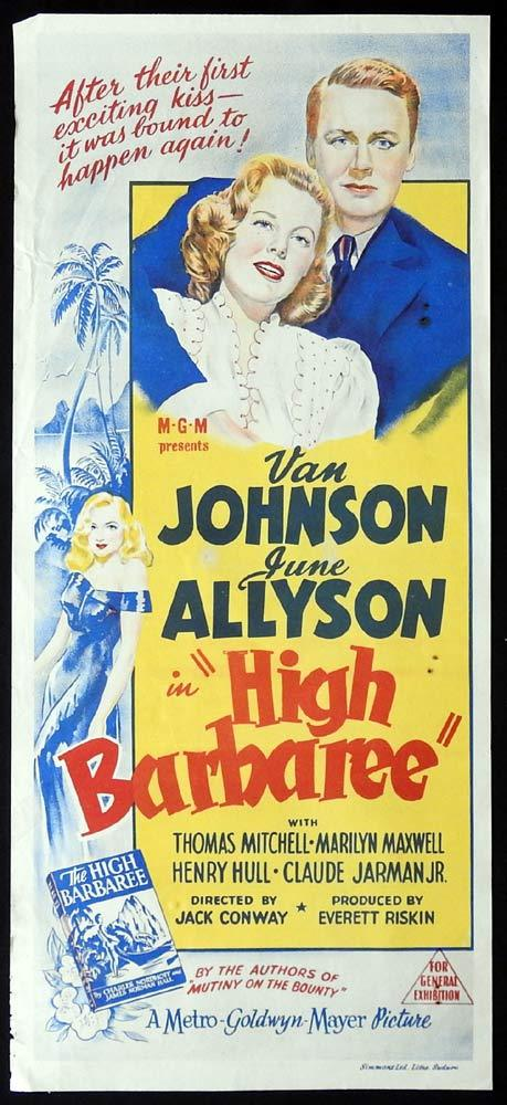 HIGH BARBAREE Original Daybill Movie poster Van Johnson June Allyson