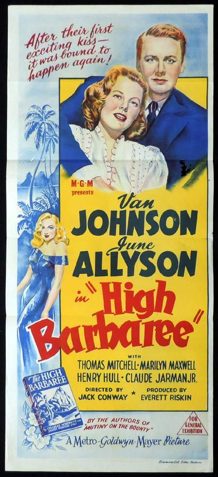 HIGH BARBAREE Original Daybill Movie Poster June Allyson Van Johnson