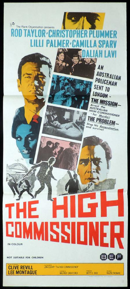 THE HIGH COMMISSIONER Original Daybill Movie Poster Rod Taylor Camilla Sparv Christopher Plummer
