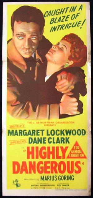 HIGHLY DANGEROUS Daybill Movie Poster Margaret Lockwood