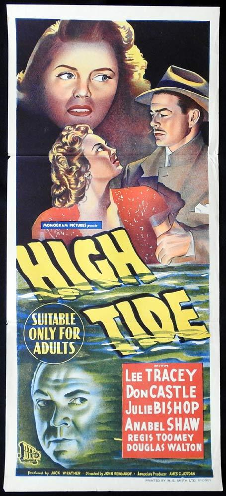 HIGH TIDE Original Daybill Movie Poster Film Noir Lee Tracy Don Castle