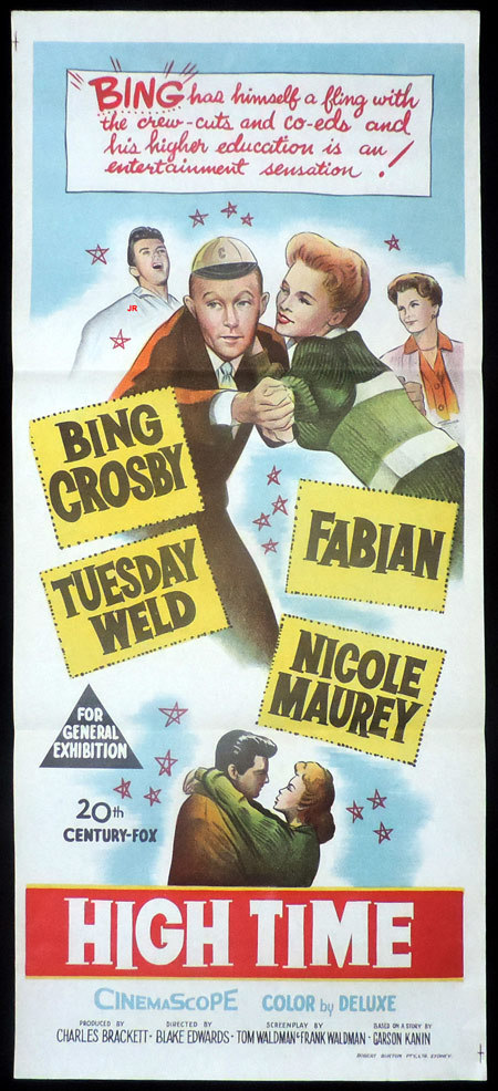 HIGH TIME Original Daybill Movie poster Bing Crosby