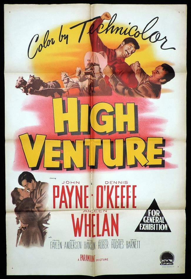 HIGH VENTURE One Sheet Movie Poster John Payne Dennis O'Keefe