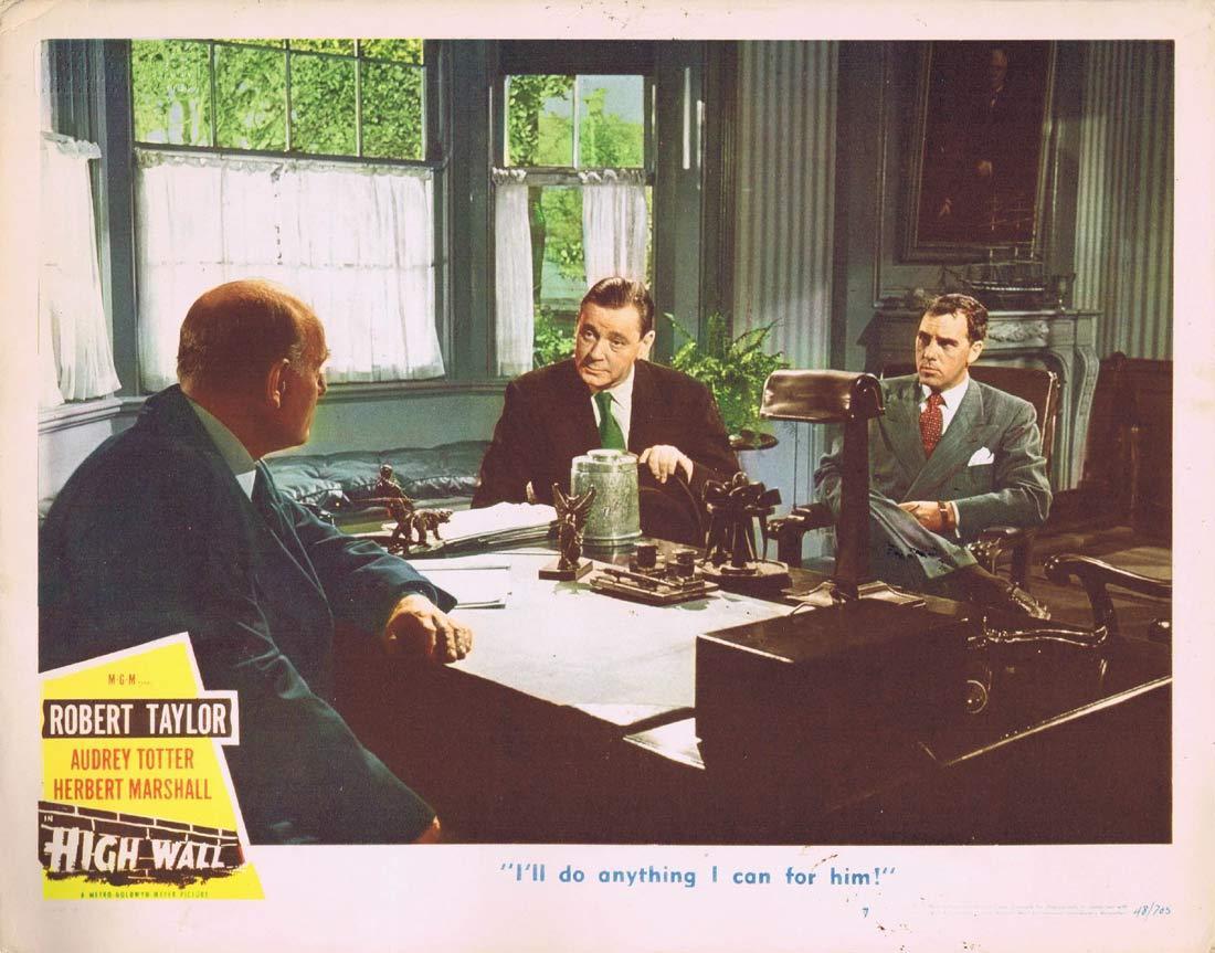 HIGH WALL Original Lobby card Herbert Marshall 1947