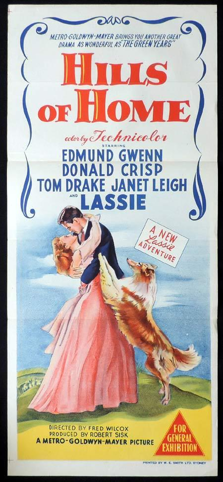 HILLS OF HOME Original Daybill Movie Poster LASSIE Edmund Gwenn Donald Crisp