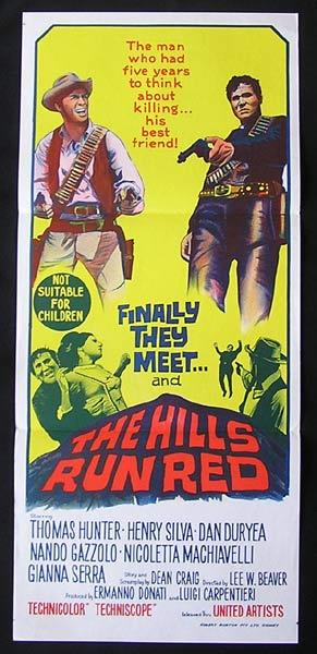 THE HILLS RUN RED Daybill Movie poster Dan Duryea Western