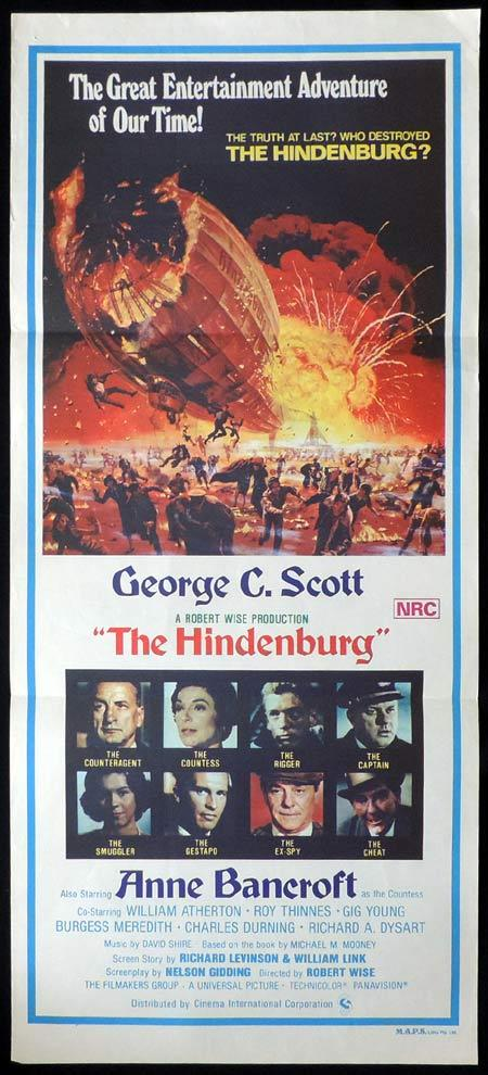 THE HINDENBURG Original Daybill Movie Poster Airship Disaster
