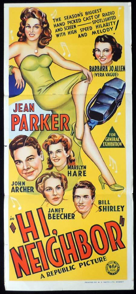 HI NEIGHBOR Original Daybill Movie Poster 1942 Jean Parker