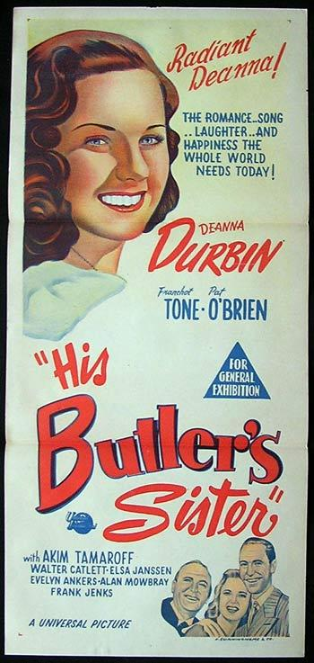 HIS BUTLERS SISTER Deanna Durbin 1950sr Daybill Movie poster