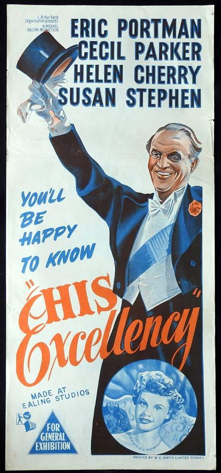 HIS EXCELLENCY Original daybill Movie Poster EALING STUDIOS Eric Portman Cecil Parker Helen Cherry