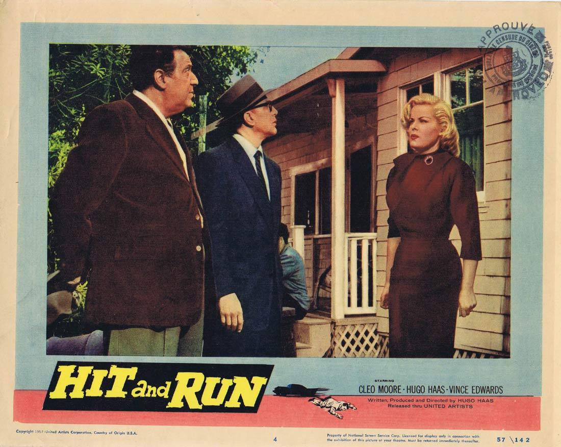 HIT AND RUN Vintage Lobby Card 4 Cleo Moore Hugo Haas Film Noir