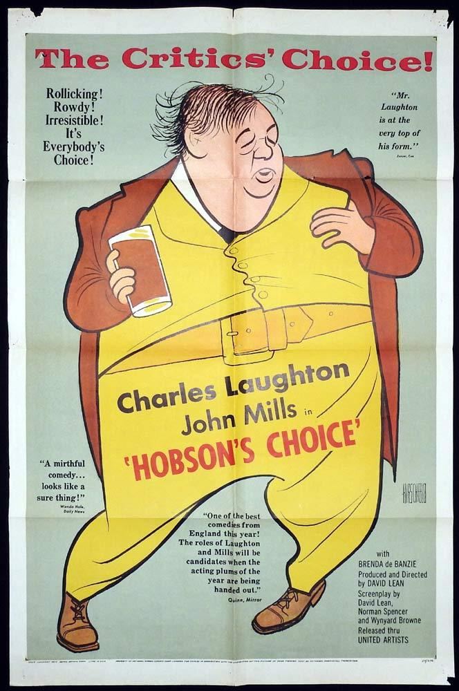 HOBSON'S CHOICE Original One sheet Movie Poster Charles Laughton