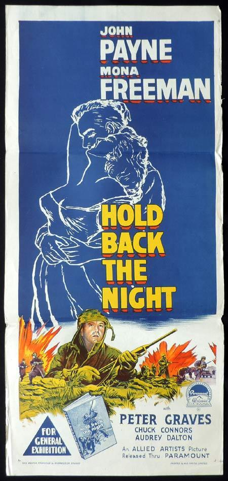HOLD BACK THE NIGHT Daybill Movie Poster 1956 Richardson Studio Chuck Connors