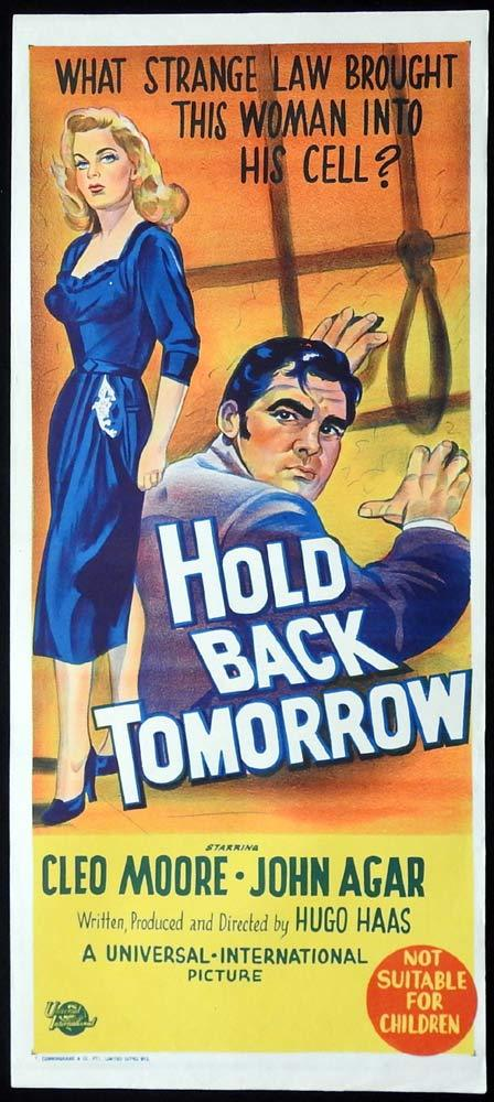 HOLD BACK TOMORROW Original Daybill Movie Poster Film Noir Cleo Moore John Agar