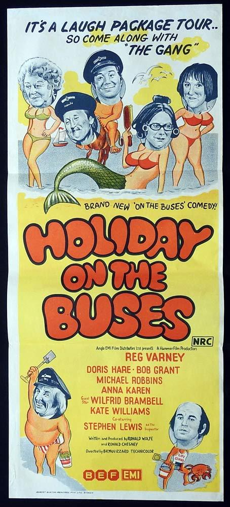 HOLIDAY ON THE BUSES Original Daybill Movie Poster Reg Varney Doris Hare