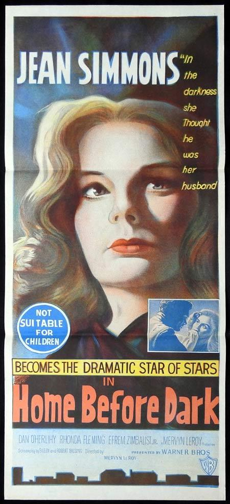 HOME BEFORE DARK Daybill Movie poster Jean Simmons Dan O'Herlihy