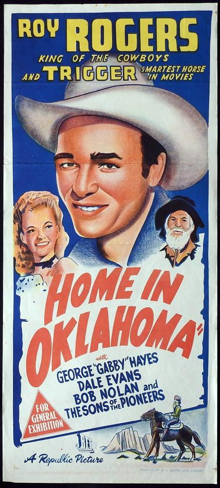 HOME IN OKLAHOMA Original Daybill Movie Poster Roy Rogers Dale Evans