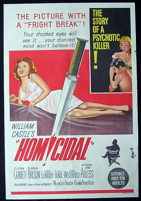 HOMICIDAL Original One sheet Movie poster William Castle horror
