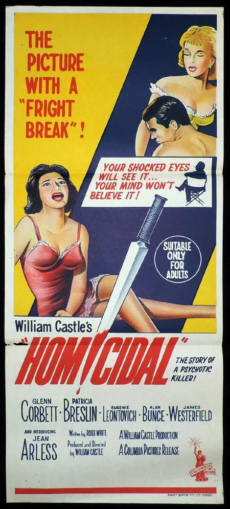 HOMICIDAL Original Daybill Movie Poster William Castle Horror