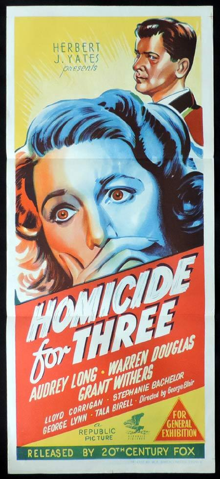 HOMICIDE FOR THREE Original Daybill Movie Poster Loretta Young Jeff Chandler
