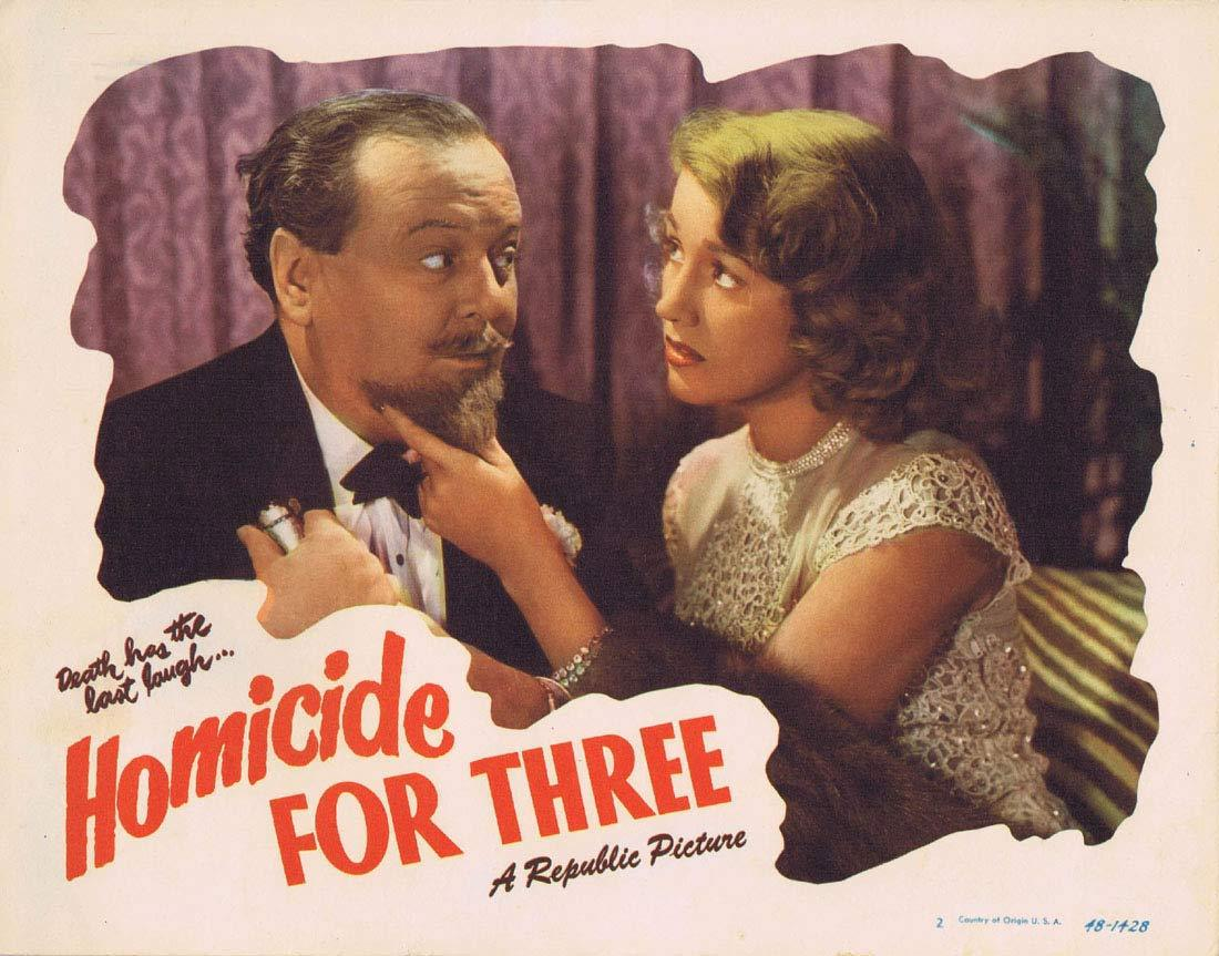 HOMICIDE FOR THREE Original Lobby Card 2 Warren Douglas Audrey Long Film noir
