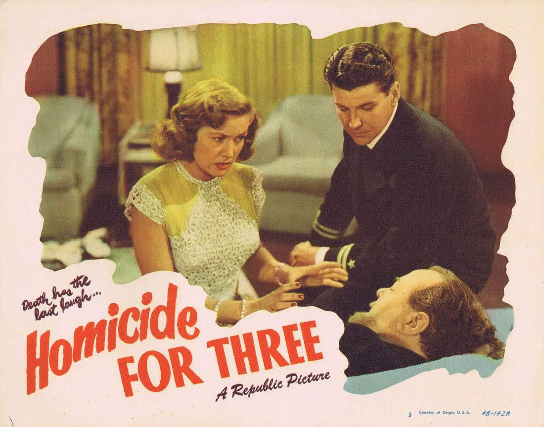 HOMICIDE FOR THREE Original Lobby Card 3 Warren Douglas Audrey Long Film noir