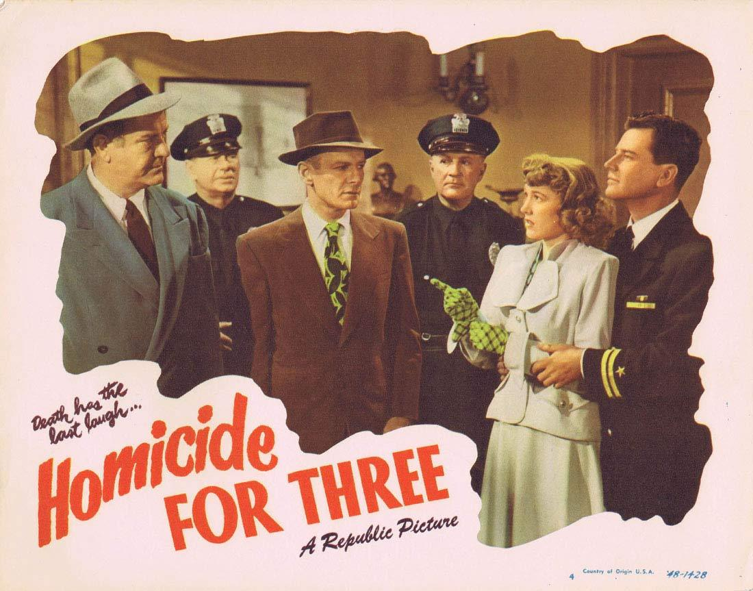 HOMICIDE FOR THREE Original Lobby Card 4 Warren Douglas Audrey Long Film noir