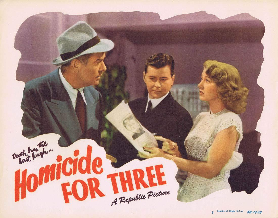HOMICIDE FOR THREE Original Lobby Card 5 Warren Douglas Audrey Long Film noir