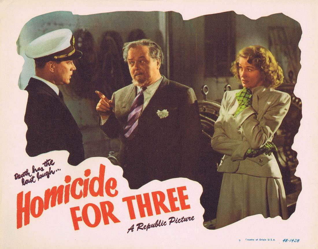 HOMICIDE FOR THREE Original Lobby Card 7 Warren Douglas Audrey Long Film noir