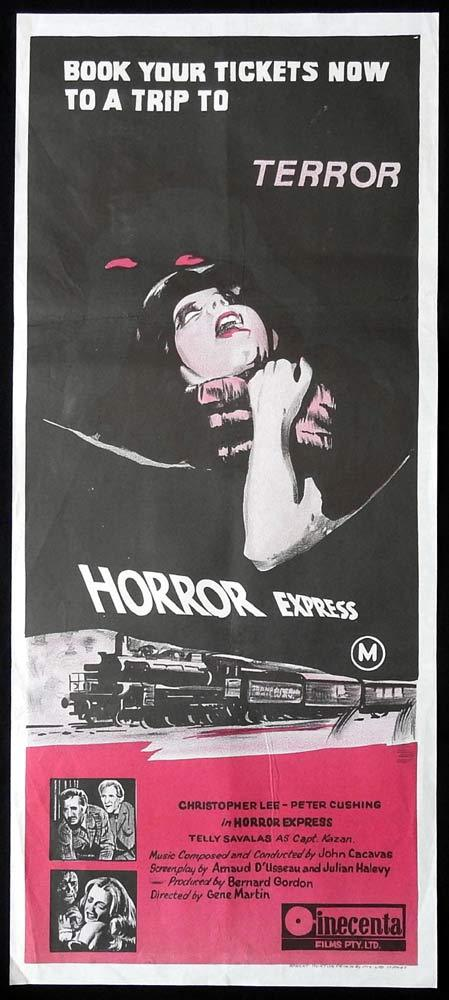 HORROR EXPRESS Original 2nd printing Daybill Movie Poster Christopher Lee Peter Cushing