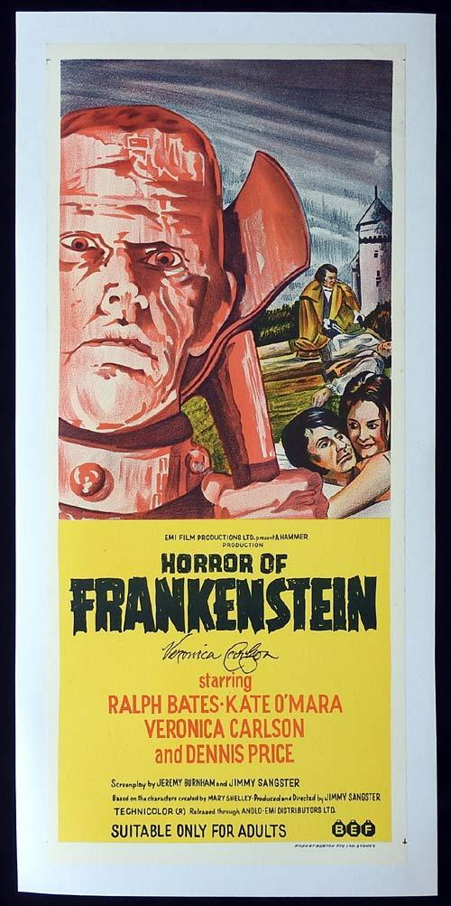 HORROR OF FRANKENSTEIN Linen Backed Daybill Movie poster Autograph Veronica Carlson