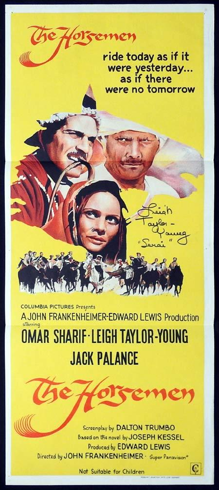 THE HORSEMEN Original Daybill Movie poster AUTOGRAPHED by Leigh Taylor Young