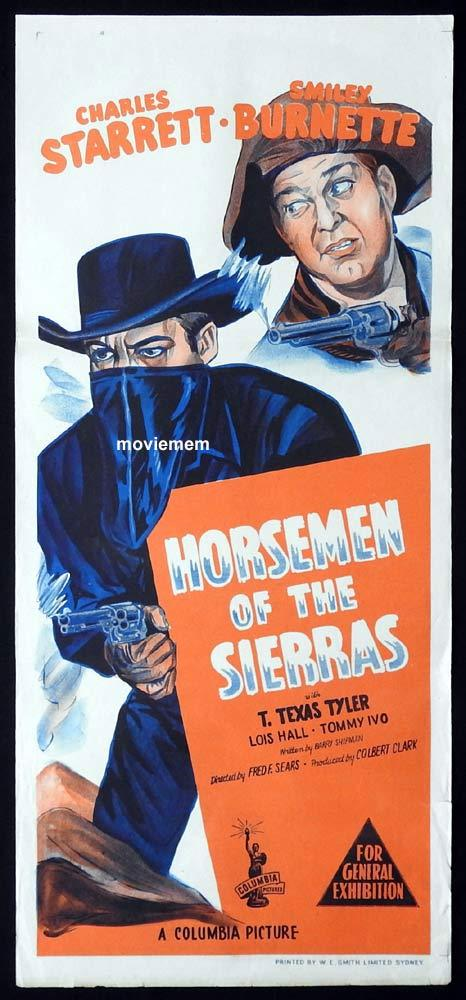 HORSEMEN OF THE SIERRAS Original Daybill Movie Poster Charles Starrett Smiley Burnette