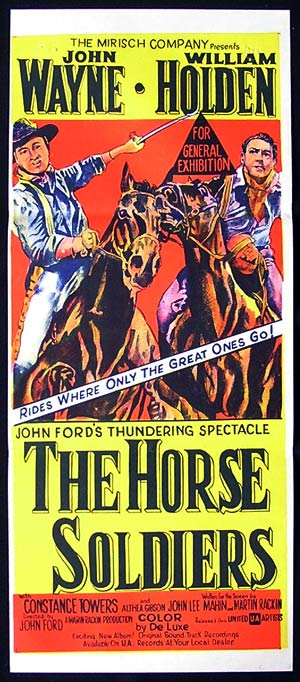 THE HORSE SOLDIERS Original daybill Movie poster John Wayne William Holden