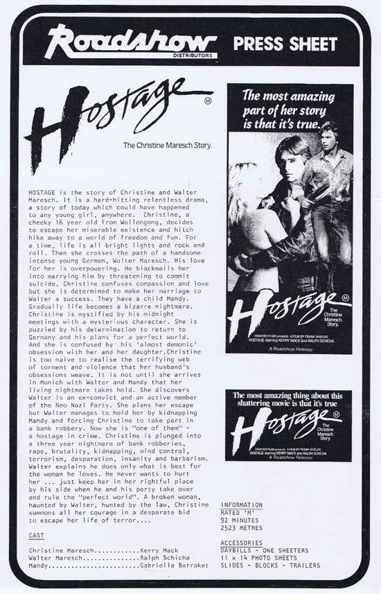 HOSTAGE Rare AUSTRALIAN Movie Press Sheet